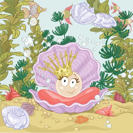 Perla carino sul guscio in corona su sfondo barriera corallina