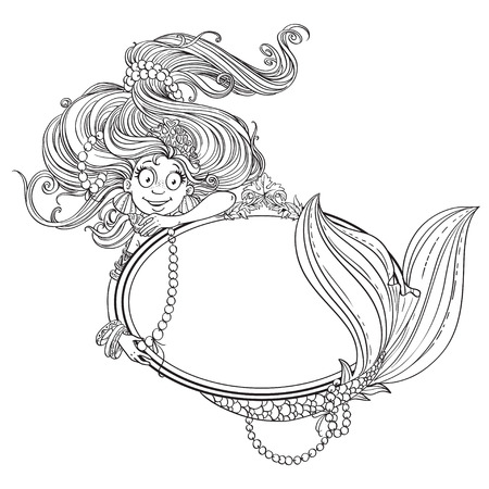 crown tail: Lovely mermaid with flowing long hair holding a big mirror outlined