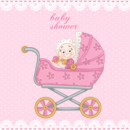 Pink baby carriage for newborn baby shower card