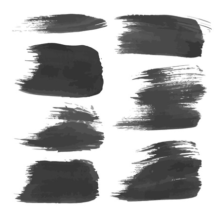 Realistic black strokes painted with paint on white Vector
