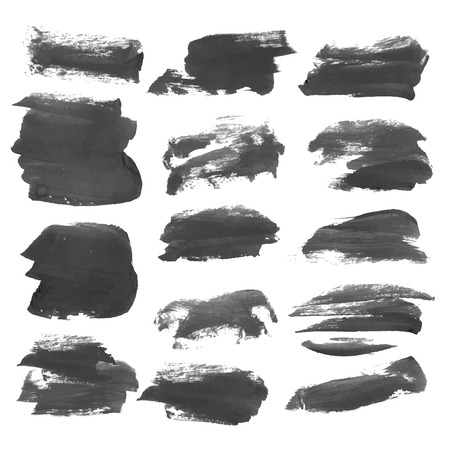 paint strokes: Realistic strokes painted with black paint isolated on a white background 2
