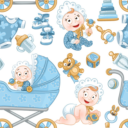 Seamless pattern from cute baby, blue baby toys, baby carriage and objects