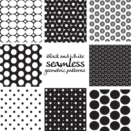 circle pattern: Set of black and white seamless geometric patterns from circles
