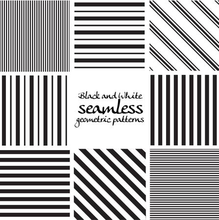 cuadros blanco y negro: Conjunto de patrones geométricos sin fisuras en blanco y negro Vectores