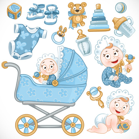 Set of cute baby, blue baby toys, baby carriage, objects, clothes and things