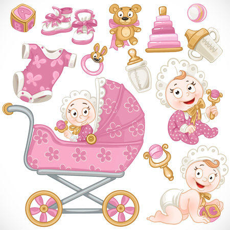 Set of cute baby, pink baby toys, baby carriage, objects, clothes and things
