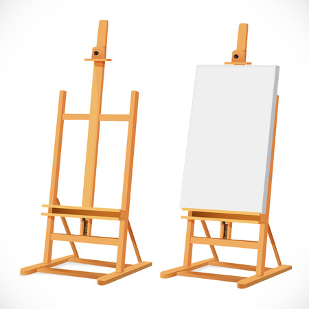 artboard: Blank art board on wooden easel isolated on white background