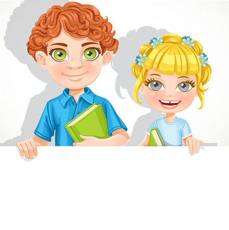Cute school boy and girl with book hold big banner Vector