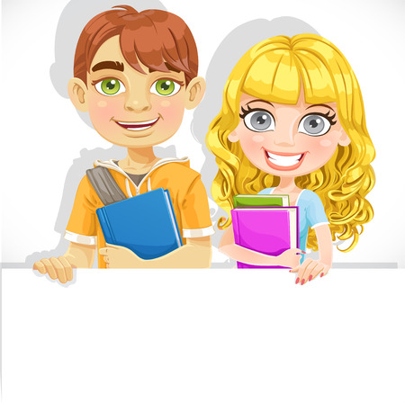 Cute teenage boy and girl with a textbook hold big white banner