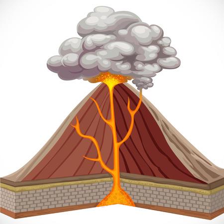 uitbarsting: Diagram van de vulkaan op een witte achtergrond Stock Illustratie