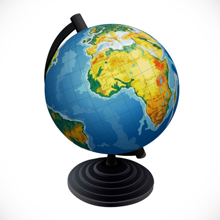 Globe of planet Earth isolated on white background