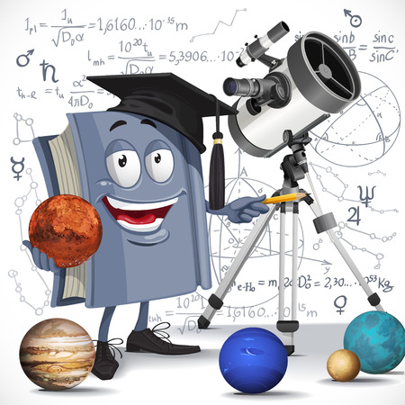 solar system: School astronomy textbook with telescope hold Mars on formula background