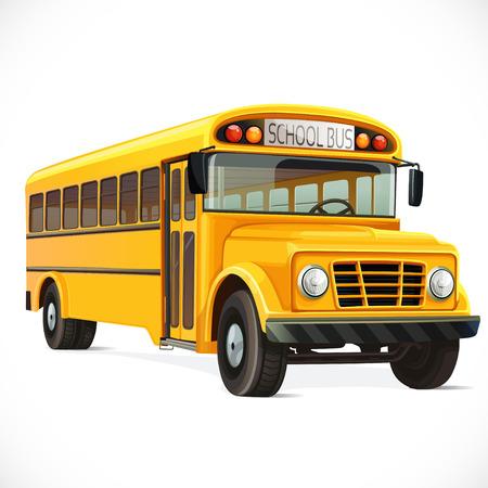 transporte escolar: Vector autobús escolar amarillo aislado en el fondo blanco