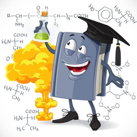 nitroglycerin: School chemistry textbook hold test-tube on detonation and formula background Illustration