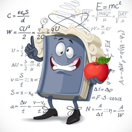 School physics textbook bump apple on head on formula background