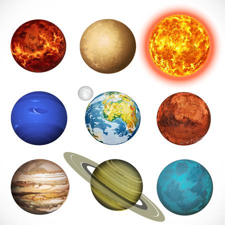 planeten: Abbildung Planeten Sonnensystem und Sonne isoliert auf weißem Hintergrund