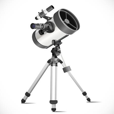 White telescope isolated on white background Vector