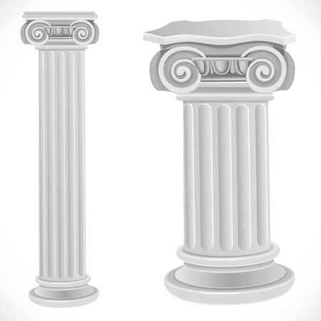 corinthian column: Classical greek or roman ionic white column isolated on white background