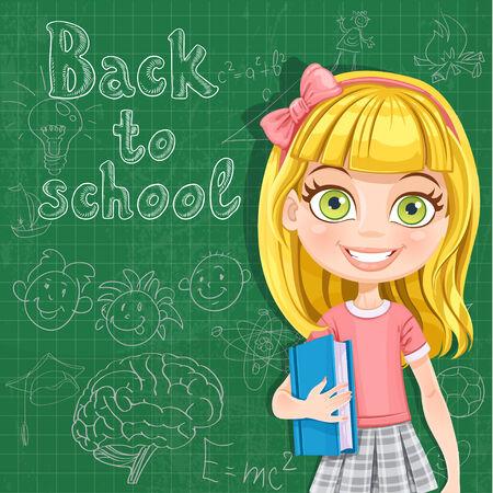 preschooler: Back to school - cute blond girl at the blackboard