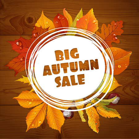 realism: Background of a big autumn sale with red and yellow leaves on wooden background Illustration
