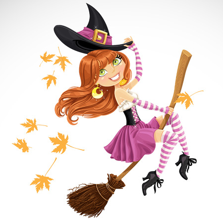 Beautiful witch flying on a broomstick isolated on white background Çizim