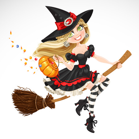 Beautiful witch with candy in pumpkin flying on a broomstick isolated on white background