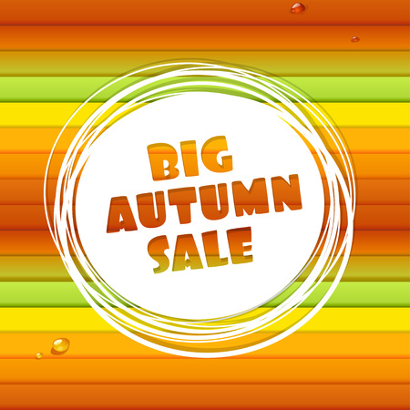 Big autumn sale abstract banner on horizontal colored stripes and drops of dew Vector