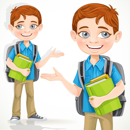 Cute school boy with books and backpack