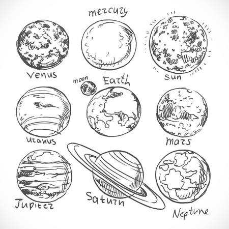 落書きの白い背景で隔離の太陽系の惑星