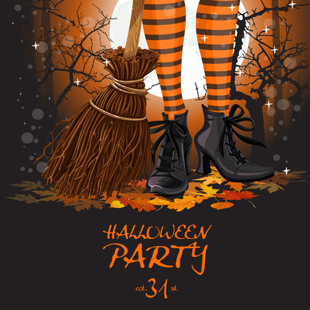 broomstick: Halloween party poster with witch legs in boots and broomstick