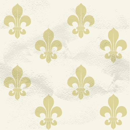 Seamless grungy vintage pattern from beige Fleur-de-lys Vector