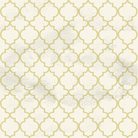 Seamless grungy vintage pattern from the beige ornamental lattice Vector