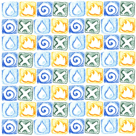 fundamentals: Seamless ornament from earth elements air, water, fire, earth, ethnic style Illustration