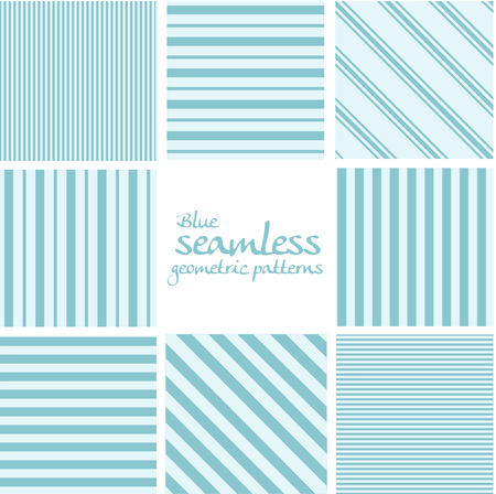 diagonal stripes:  Set of blue seamless geometric striped patterns