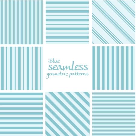 Set of blue seamless geometric striped patterns