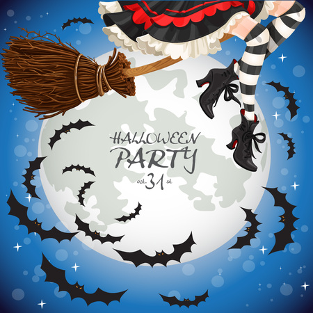 Witch flying on a broomstick banner Vector