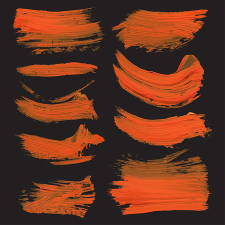 paint drips: Abstract realistic strokes drawn thick orange paint on black paper