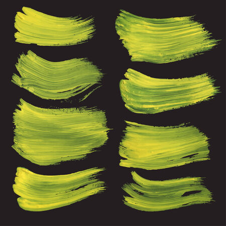 Abstract realistic strokes drawn thick yellow paint on black paper Vector