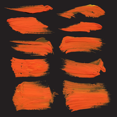 Abstract strokes drawn thick orange paint on black paper Vector