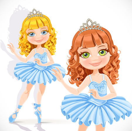 Beautiful little ballerina girl in tiara and blue dress isolated on a white background Vector