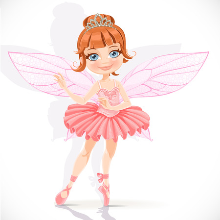 tiara: Beautiful little fairy girl in pink dress and tiara isolated on a white background