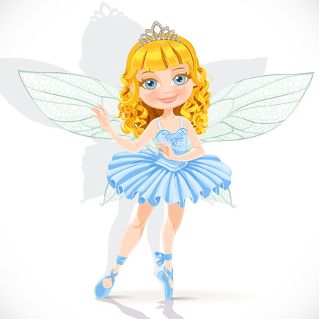 Beautiful little fairy girl in tiara and blue dress isolated on a white background Vector