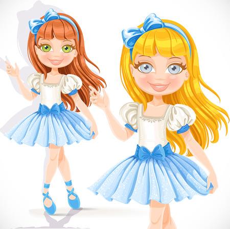 little girl dancing: Cute little ballerina girl in blue dress isolated on a white background