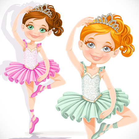 Cute little ballerina girl in pink and green tutu and tiara isolated on a white background Vector