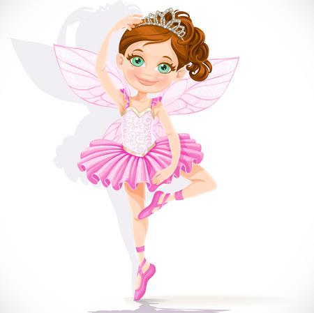 흰색 배경에 고립 된 핑크 투투와 티아라의 귀여운 작은 요정 소녀