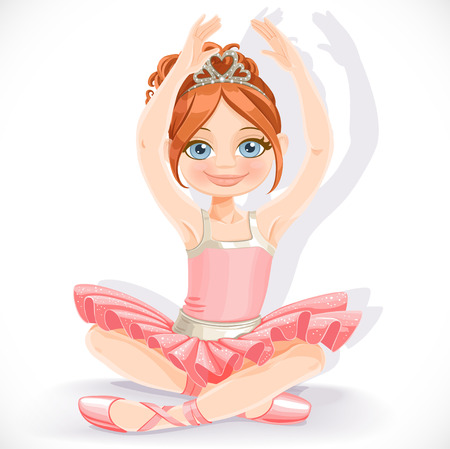 Ballerina girl in pink dress sit on floor isolated on a white background Illustration
