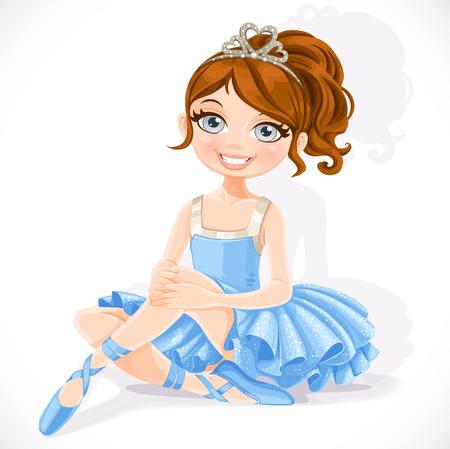 青いドレスとティアラで美しいバレリーナ ・ ガールは、白い背景で隔離の床に座る