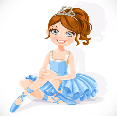 Beautiful ballerina girl in blue dress and tiara sit on floor isolated on a white background Çizim