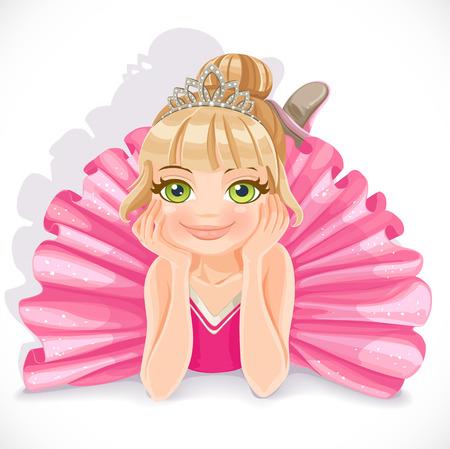 Muchacha hermosa bailarina en traje de color rosa se encuentran en el suelo aislado en un fondo blanco Ilustración de vector