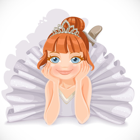 Beautiful ballerina girl in white dress lie on floor isolated on a white background Vector